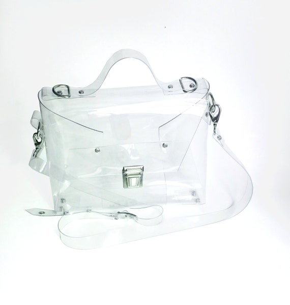 Clear cute crossbody messenger, security purse for mass parties concerts, stadium approved transparent handbag airport security, 90s fashion
