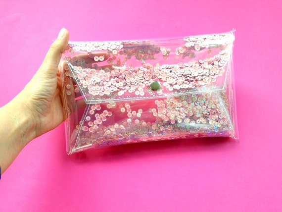 Mermaid clutch bag, cute pink purse with iridescent sequins, vegan bag, holographic 90s style handbag, glitter bag, unicorn bag, jelly bags