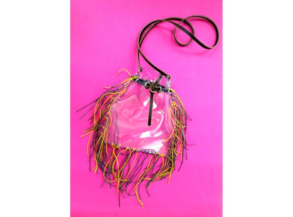 Festival fringe bag, tassels transparent crossbody bag, matchday bucket bag, for lsu tigers fans, purple and yellow clear security handbags