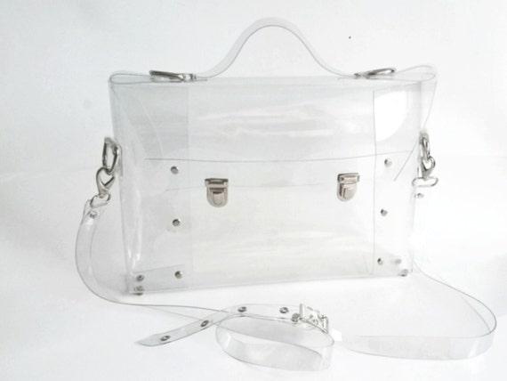 Clear Messenger bag transparent clear satchel clear brief bag clear handbag back to school minimalist bag waterproof office bag industrial