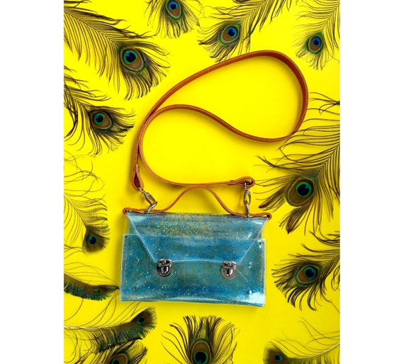 Turquoise small messenger bag, holographic glitter confetti bag, Transparent messenger, 90's glitter brief clutch, cute  jelly handbag, OOAK