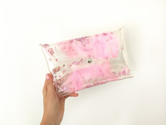 Millennial pink bag, instagram friendly bag, for cute girl, feathers and sequins, unicorn style bag, mermaid clutch, transparent fashion