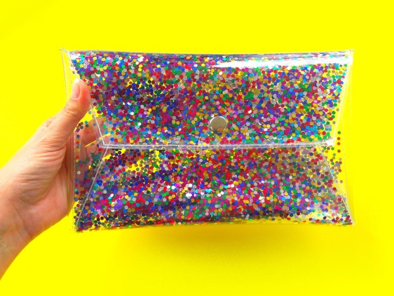 Cute rainbow clutch Clear purse bag transparent 90s glitter clutch glitters sequins jelly rainbow purse evening bag prom sparkle party vegan