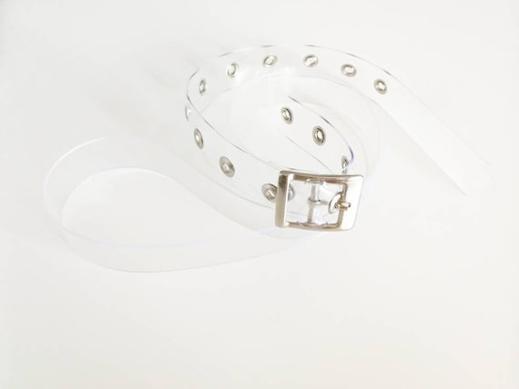 Clear vinyl belt, transparent pvc 90s style for mom jeans or 00s lover, cyber, soft goth, techno, punk acessories, vegan belt, minimalism