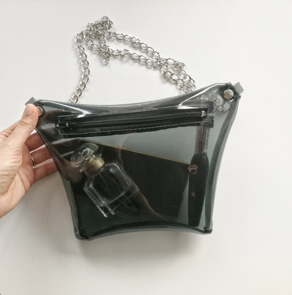 Transparent black belly, see-through hip bag, street style oversize kidney bag, vinyl bum bag, modern style fanny pack, chain  waist  bags
