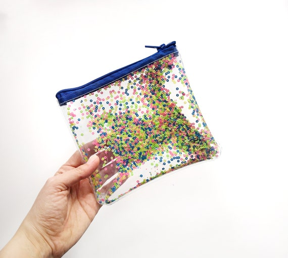 Pastel confetti pouch, zipper cosmetic, transparent bag with sequins, transparent makeup bag, vinyl glitter purse, vegan cosmetic bag, small