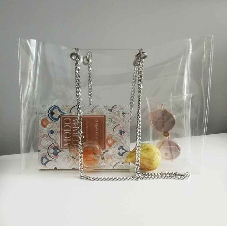 Clear tote bag Shopper purse transparent bag with chain clear handbag shopping oversized bag security bag beach bag airport waterproof tote