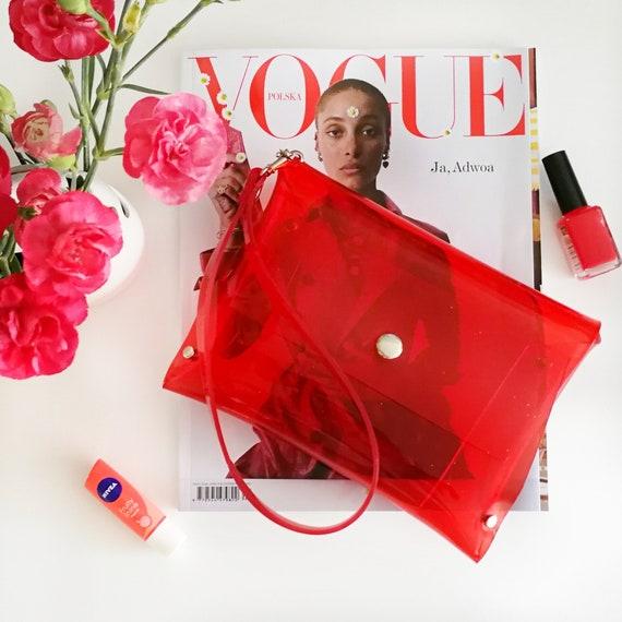 Red wristlet vegan clutch bag, clear stadium bag, vegan minimalist clutch, simple red bag, transparent small purse, 90s bag, plastic bag