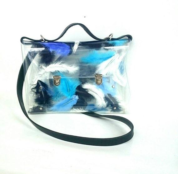 Feathers messenger bag black office bag  blue serenity and turquoise accent satchel transparent satchel unique brief laptop bag feathers