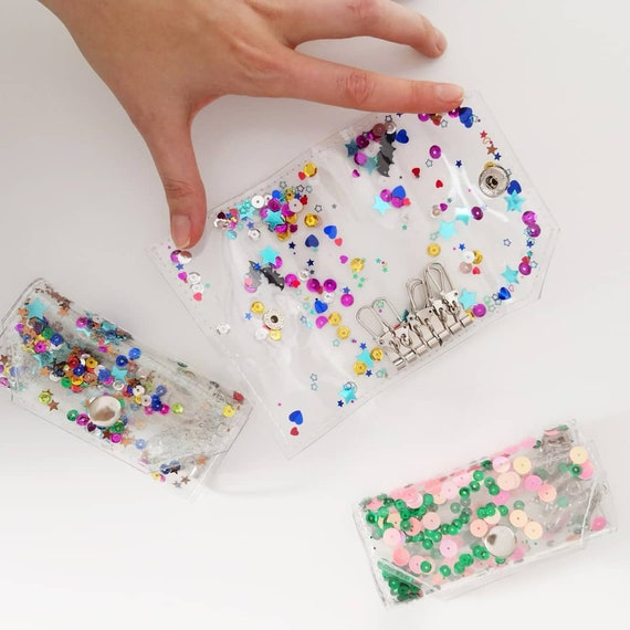 Colorful key wallet, glitter key holder, vegan key organizer, 90s style key pouch, key tidy, shiny sequins key organizer, key case, key fob