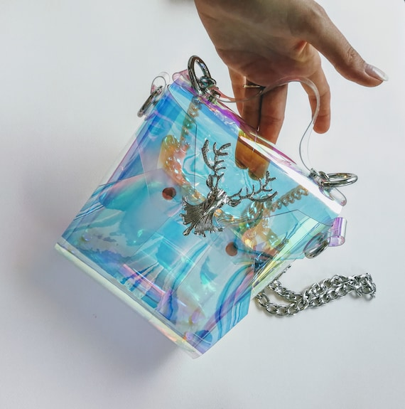 Holographic clear small messenger bag with vintage deer metalwork, retro style mermaid handbag, vegan unique messenger purse, iridescent bag