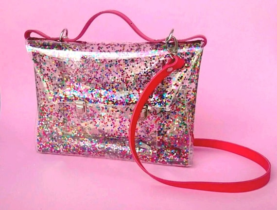 Sequins bag confetti bag messenger transparent satchel 90's glitter brief glitters sequins jelly rainbow back to school bag colorfull unique