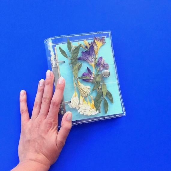 Herbarium binder notebook for nature lovers, vegan sketchbook with dried / pressed flower, leafs and herbs, terrarium journal, unique binder