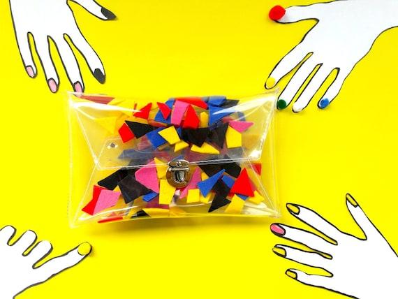 Geometric clutch, vegan purse, bauhaus bags, evening clutch bag, geometric bag, cute jelly bags, party bag, unique bags,modern clutches