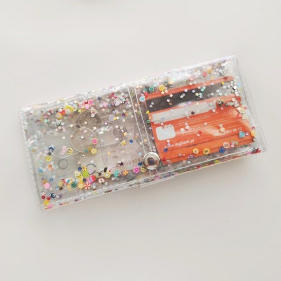 Big kawaii wallet, Transparent with fimo confetti, glitter Id holder, 90s baby nostalgia, vinyl wallet, gift for vegan, gift for teenager