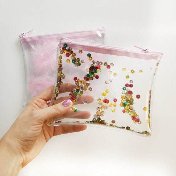 d5675866a616 Confetti clear pouch zipper cosmetic bag with sequins