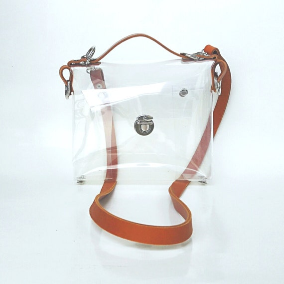 Crossbody bag, NFL Clear See Through, Plastic Transparent Bag, Crossbody Bag, Messenger Bag, Shoulder Bag  NFL Genuine Leather Strap premium