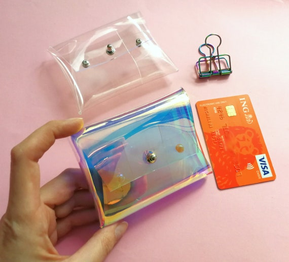 Clear holographic case for business cards, credit cards, member cards and cash transparent iridescent coin holder card holder clear opal