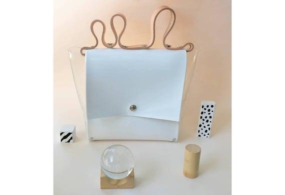 Minimal bag, wave handle handbag, gift for woman, design lover bag, fashion freak bag, vinyl modern purse, incredible gift, corrugated