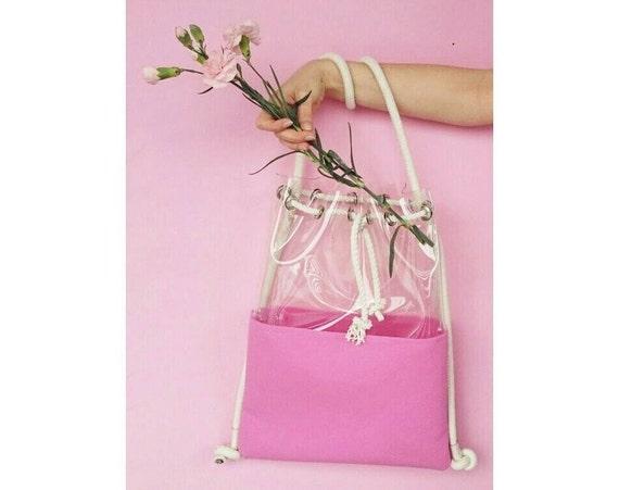 Clear backpack, Bucket Bag, Tote Bag, Felted bag, felt backpack, hobo Bag, Felt Tote, pink bagpack, Ecofriendly bag,Shoulder bag, 2in1