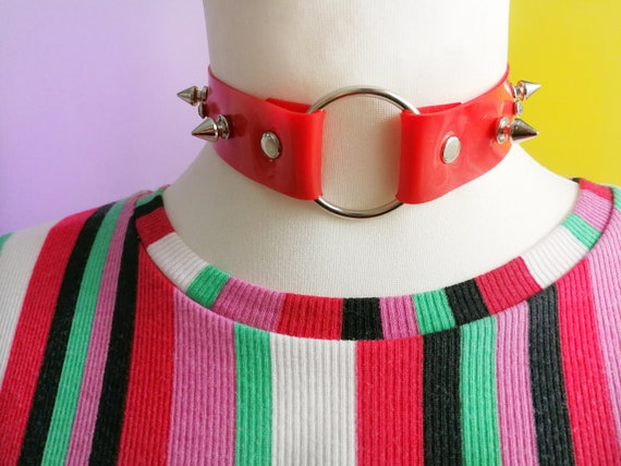 Valentinesday gift for her, Spike choker, rhinestone choker, red choker, ring necklace, festival accessories, pastel goth choker, bdsm slave