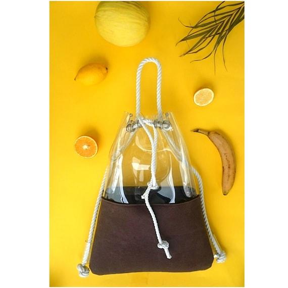 Brown Bucket Bag, brown rucksack, Drawstring Bucket Bag, Felted bag, felt backpack, hobo Bag, Felt Tote, brown backpack,  Shoulder bag,brown