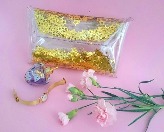 Gold sequins bag, stars sequins clutch, gold handbag, evening clutch bag, wedding clutch bag, prom clutch bag, vegan gold bag, bride bag