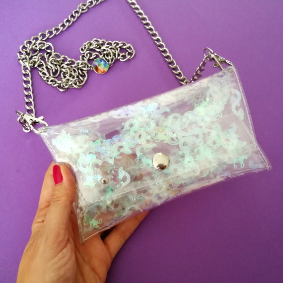Unicorn and rainbow sequins  phone chain case for iPhone, HTC, Samsung, Sony Xperia, Phone Cases, Cellphone Bag, Small Purse,cross body bag
