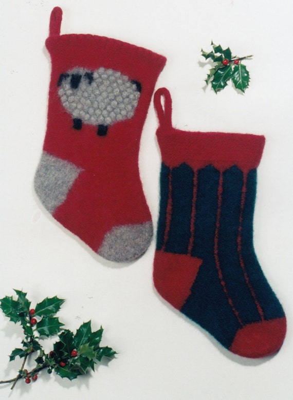 Felt Christmas Stocking Pattern Knitting Pattern For Etsy