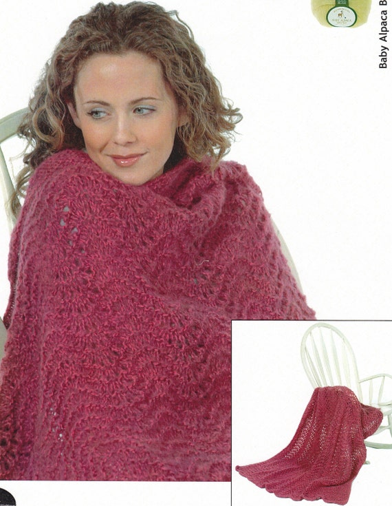 Feather And Fan Afghan Knitting Pattern Plymouth Yarn Design