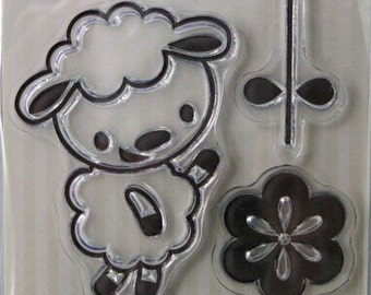 """We R Memory Keepers """"Little Lamb"""" Clear Stamps, 3 Clear Acrylic Scrapbooking Stamps 3""""x3"""", Baby Scrapbooking Ideas, Embellishments"""