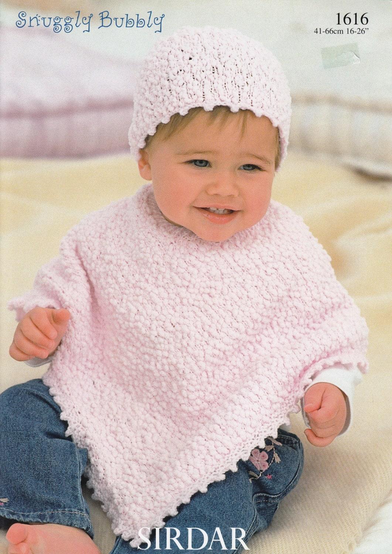Baby Poncho Knitting Pattern Sirdar Snuggly Bubbly 1616 Etsy