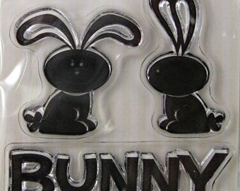 """We R Memory Keepers """"Bunny"""" Clear Stamps, 3 Clear Acrylic Scrapbooking Stamps 3""""x3"""", Holiday Scrapbooking Ideas, Embellishments"""