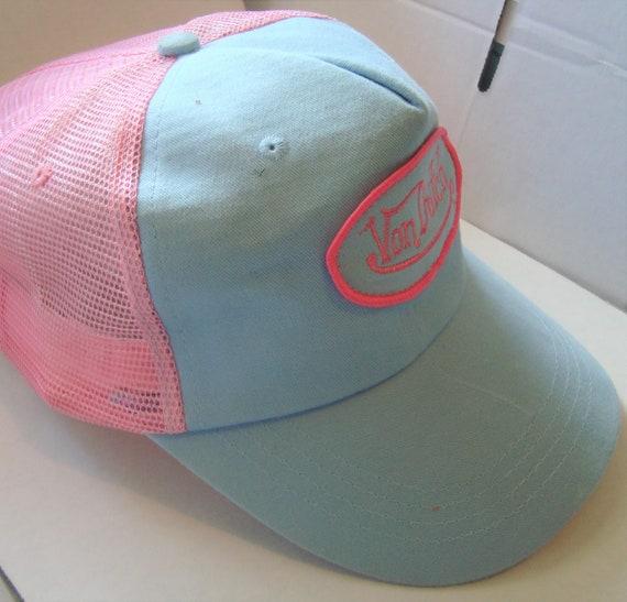 Vintage Von Dutch Mesh Trucker Biker Snap back Hat Cap Adjustable  Blue  Yellow Circa Y2K pre owned