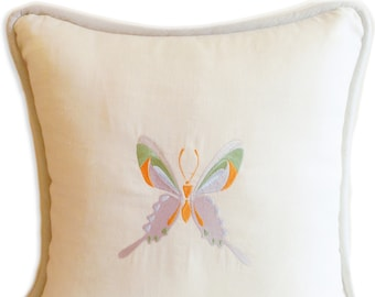 """Embroidered Pillow, 23x23"""", Linen - The Butterfly, Large"""