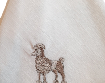 """Embroidered Napkins - 20x20"""" - Linen - Poodle in Silver"""
