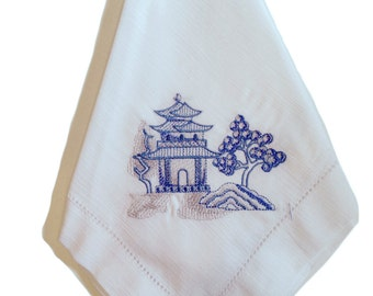 """Embroidered 20x20"""" Linen Napkins - Chinese Pagodas in Red or Blue"""