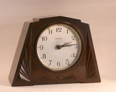 Ingersoll Art Deco Mantel Clock, bakelite, 30s 40s almost mint (1665)