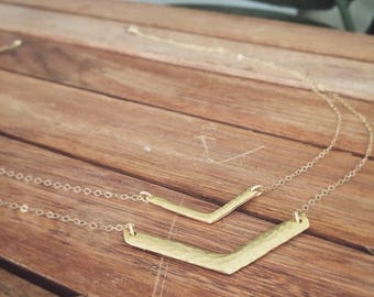 Double Arrow Hammered Gold Necklace
