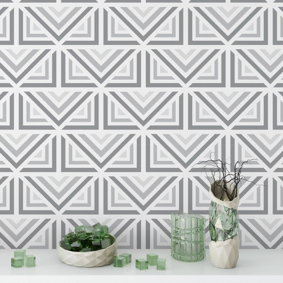Gray Rombuses Deco Wallpaper Self Adhesive Removable Wall Covering Matte Finish Printed Vinyl