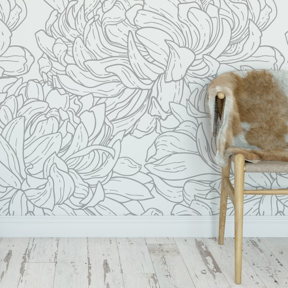 Gray Flowers Line Drawing Wallpaper Self Adhesive Removable Wall Covering Matte Finish Printed Vinyl