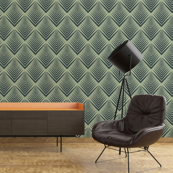 Green Shell Deco Lux Wallpaper Self Adhesive Removable Wall Covering Matte Finish Printed Vinyl Wall Art