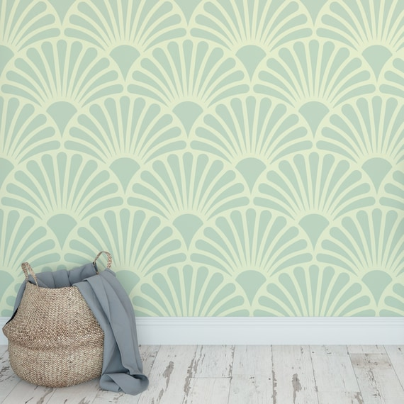 Deco Green Shell Wallpaper Self Adhesive Removable Wall Covering Matte Finish Printed Vinyl Wall Art