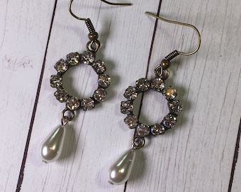 Antique Bronze Earrings with Rhinstone Focal and Pearl accents