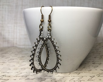 Antique Brinze Teardrop Hoop Earrings with Rhinestone and Pearl Accents