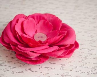 Bright Pink Layered Flower Ponytail Holder