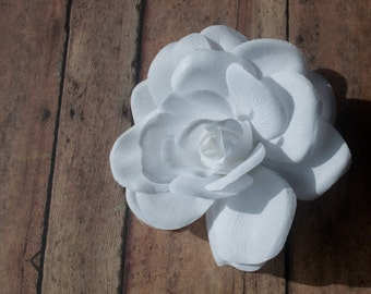 Soft White Rose Ponytail Holder