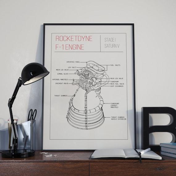 saturn v rocketdyne f 1 engine diagram minimalist poster etsy
