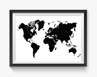 Black World Map Poster.Black World Map Etsy