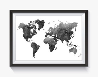 Black world map etsy black watercolor watercolor world map black map black world map travel map printable world map world map art map poster gray gumiabroncs Images